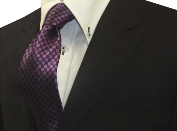 ネクタイ【少し明るめの紫(パープル)市松模様ネクタイ】