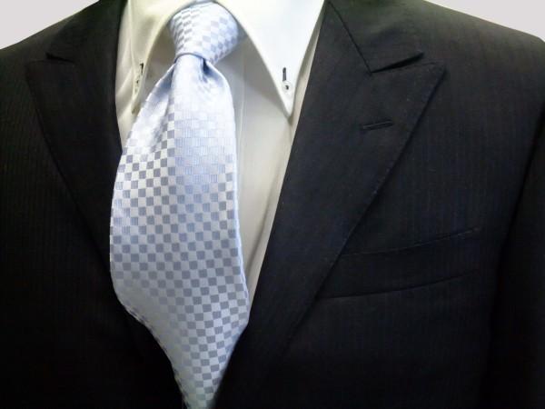 ネクタイ【水色市松模様ネクタイ】