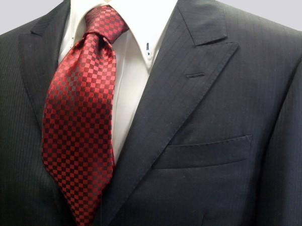 ネクタイ【濃い赤(レッド)の市松模様ネクタイ】