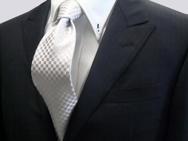 定番・市松模様 ネクタイ【シルバーグレー結婚式用 市松模様ネクタイ】