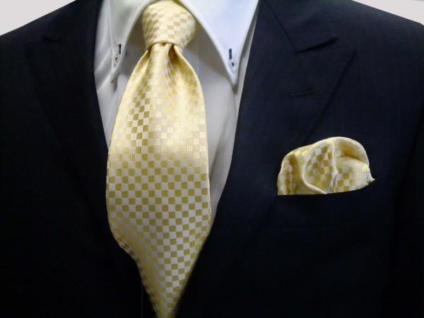 ネクタイ・ポケットチーフセット【イエロー(黄色)市松模様ネクタイ&ポケットチーフセット】