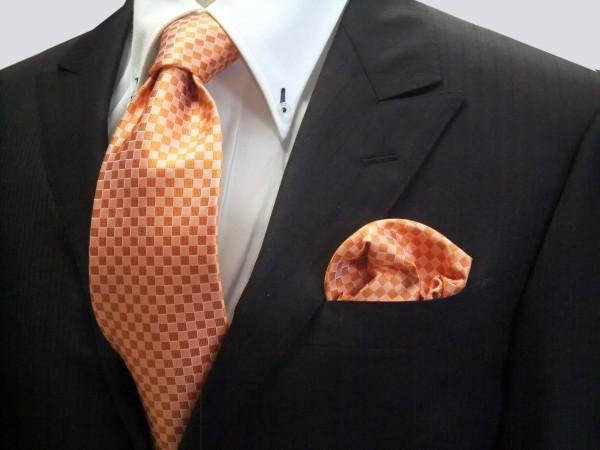 ネクタイ・ポケットチーフセット【オレンジ市松模様ネクタイ&ポケットチーフセット】