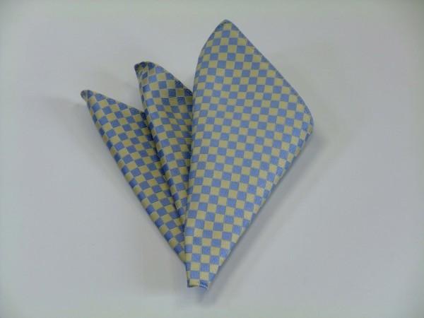 ポケットチーフ【水色(サックスブルー)×レモン色の市松模様ポケットチーフ】