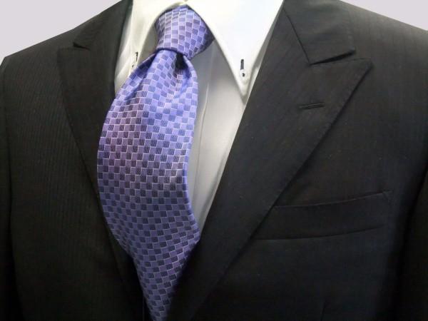 ネクタイ【ブルー(青紫)市松模様ネクタイ】