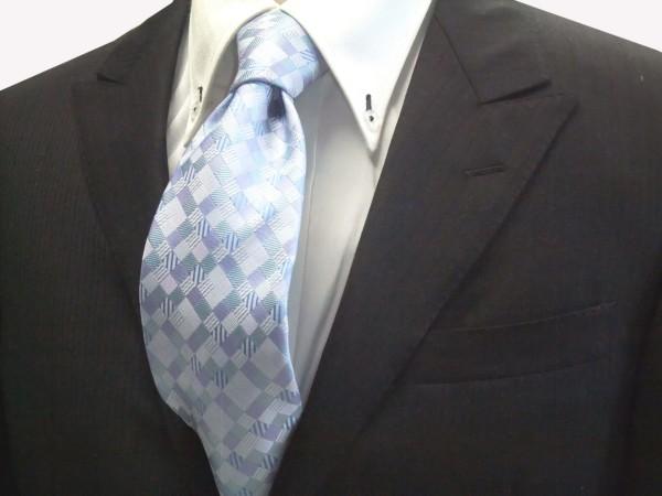 定番・市松模様 ネクタイ【水色とブルー(青)の4色のグラデーション市松模様ネクタイ】