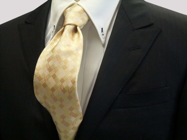 ネクタイ【黄色とゴールドのグラデーション(4色)の市松模様ネクタイ】
