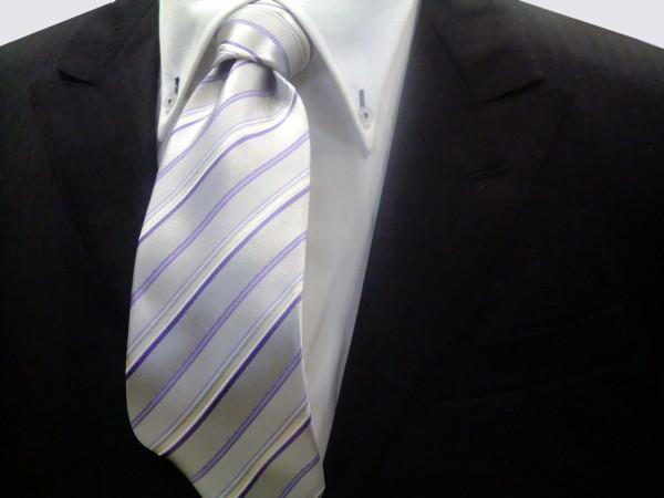 定番・市松模様 ネクタイ【シルバーグレー地にパープル(紫)と白のストライプネクタイ】