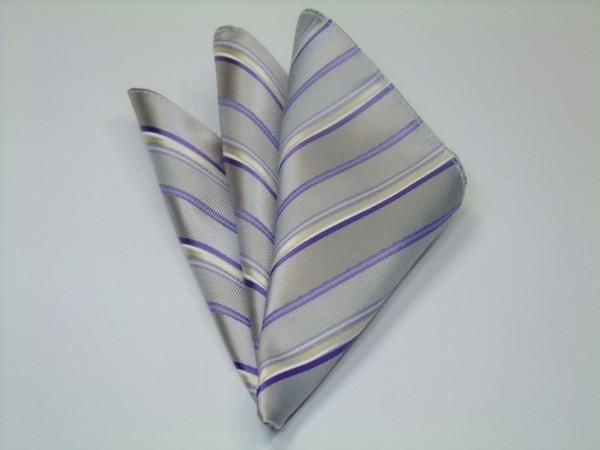 ポケットチーフ【シルバーグレー地にパープル(紫)と白のストライプポケットチーフ】
