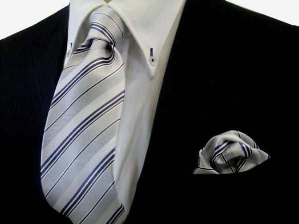 ネクタイ・ポケットチーフセット【シルバーの濃淡と黒と青紫のストライプ】