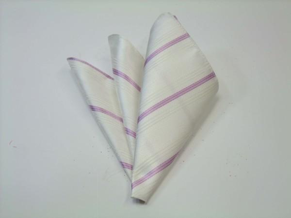ポケットチーフ【白の織柄地にピンクの濃淡のストライプポケットチーフ】