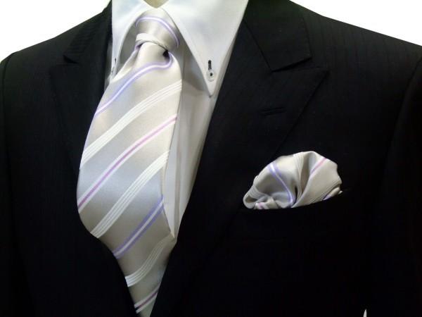 ネクタイ・ポケットチーフセット【シルバーグレー地に白とラベンダーとピンクのストライプネクタイ&チーフセット】