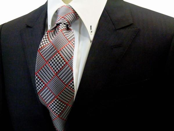 ネクタイ【白と黒のグレンチェックに赤のふちどりのネクタイ】