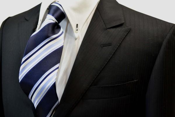 ネクタイ【濃い紺地に白と水色のストライプネクタイ】