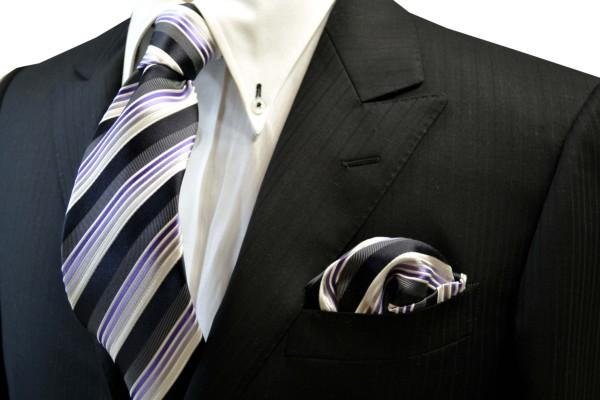 ネクタイ・チーフセット【黒と紫のグラデーションのネクタイ&ポケットチーフセット】