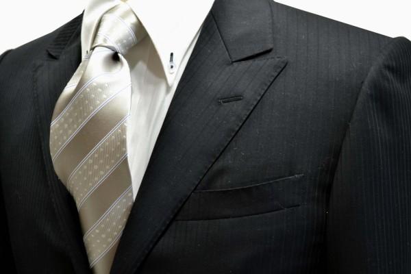 ネクタイ【シルバーグレー地に白のドット柄とブルーのストライプネクタイ】