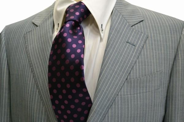 定番・市松模様 ネクタイ【濃い紫地に濃いピンクのドット8mm(水玉)ネクタイ】