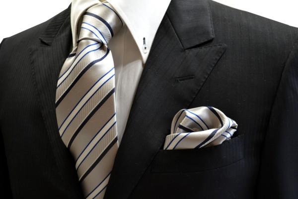 ネクタイ・ポケットチーフセット【シルバー地にブルーと白とネイビーのストライプネクタイ&チーフセット】