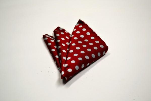 ポケットチーフ【濃いレッド(赤)に生成りのドット柄ポケットチーフ】