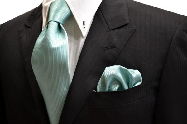 ネクタイ・ポケットチーフセット【薄いエメナルドグリーンのソリッド(無地)ネクタイ&チーフセット】