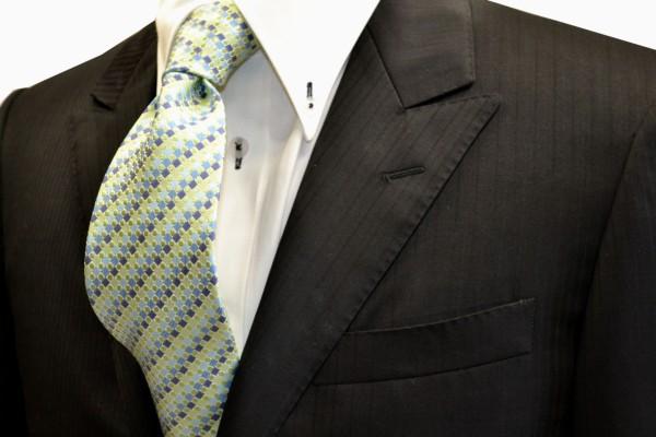 定番・市松模様 ネクタイ【グリーンの濃淡と薄い紺地に織柄のドット柄ネクタイ】