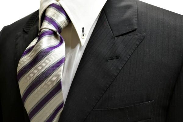 ネクタイ【織柄の白地に紫とグレーのストライプネクタイ】
