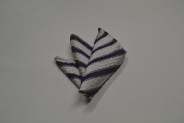 ポケットチーフ【織柄の白地に紫とグレーのストライプポケットチーフ】