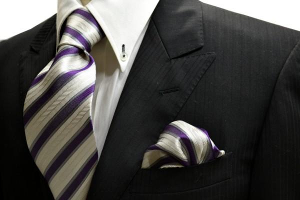 ネクタイ・ポケットチーフセット【織柄の白地に紫とグレーのストライプネクタイ&チーフセット】