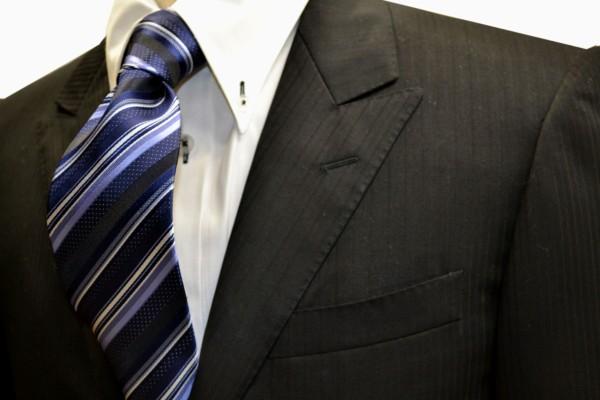 ネクタイ【ネイビー地に白と水色と黒のストライプネクタイ】
