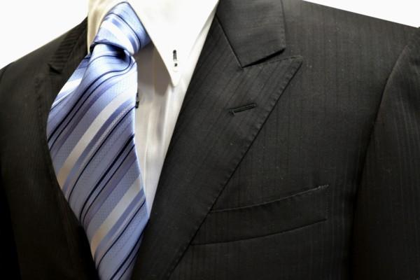 ネクタイ【水色地に白と濃い紺のストライプネクタイ】