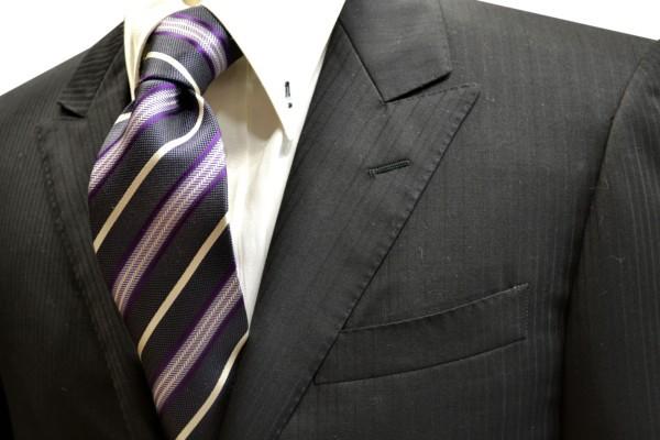 ネクタイ【チャコールグレーと白と紫のストライプネクタイ】