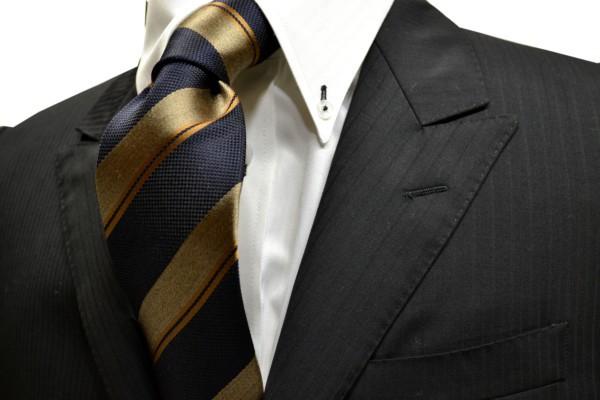 ネクタイ【紺と濃いベージュとオレンジのストライプネクタイ】