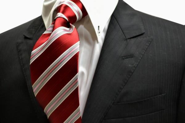 ネクタイ【濃い赤(『レッド)地に白とグレーとピンクにストライプネクタイ】