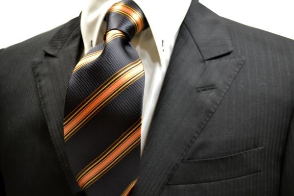 ネクタイ【黒に近いグレー地にオレンジと茶と濃いベージュのストライプネクタイ】