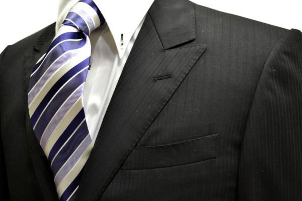 ネクタイ【濃い紫と紫と白のストライプネクタイ】