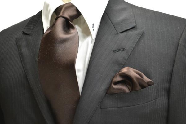 ネクタイ・ポケットチーフセット【チョコレート色のブラウンのネクタイセット】