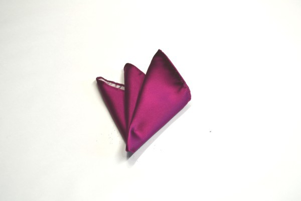 ポケットチーフ【濃いローズピンクのポケットチーフ】