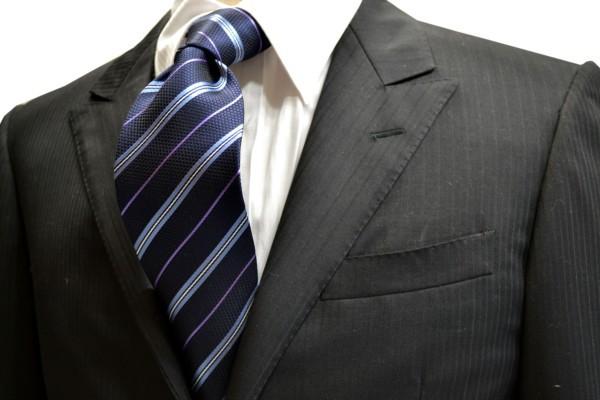 ネクタイ【紺地に水色と白と紫のストライプネクタイ】