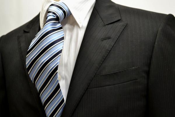 ネクタイ【濃い紺と水色と白のストライプネクタイ】