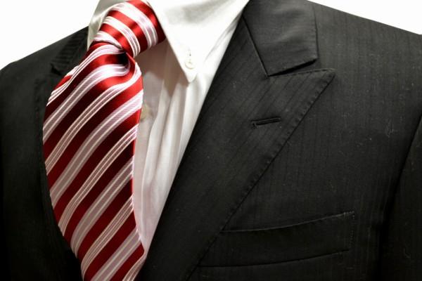 ネクタイ【レッド(赤)地に白とピンクのストライプネクタイ】