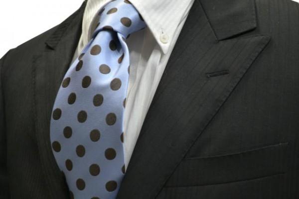 定番・市松模様 ネクタイ【水色地に茶色の少し大きめの水玉(ドット)サテンネクタイ】