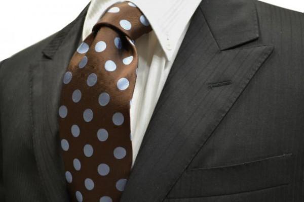 定番・市松模様 ネクタイ【茶色地に水色の少し大きめの水玉(ドット)柄ネクタイ】
