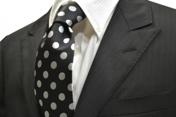 定番・市松模様 ネクタイ【ブラック(黒)地に白(少しシルバーぽい)1Cの水玉柄ネクタイ】