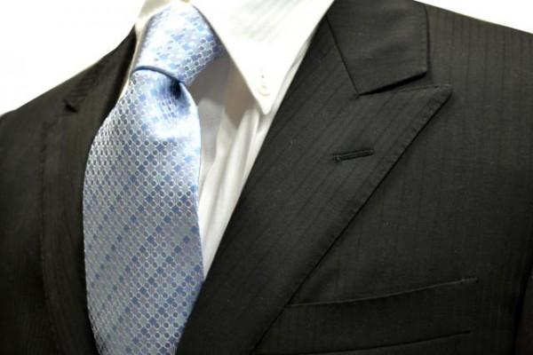 ネクタイ【水色のグラデーション地に小さい水玉と正方形の小紋柄ネクタイ】