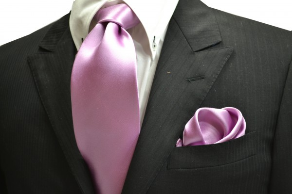 ネクタイ・ポケットチーフセット【ローズピンクのネクタイ&チーフセット】