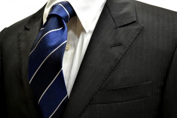 ネクタイ【紺と濃いブルーと白のストライプネクタイ】