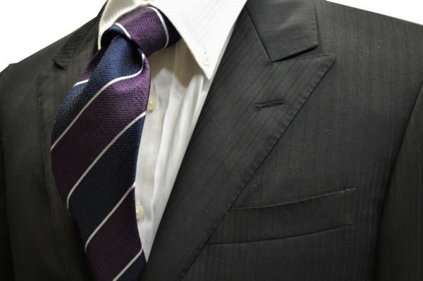 ネクタイ【紺と紫と白のストライプネクタイ】