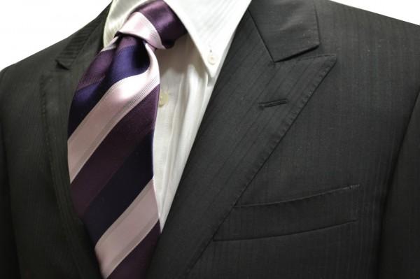 ネクタイ【ピンクとバイオレットとパープルのストライプネクタイ】