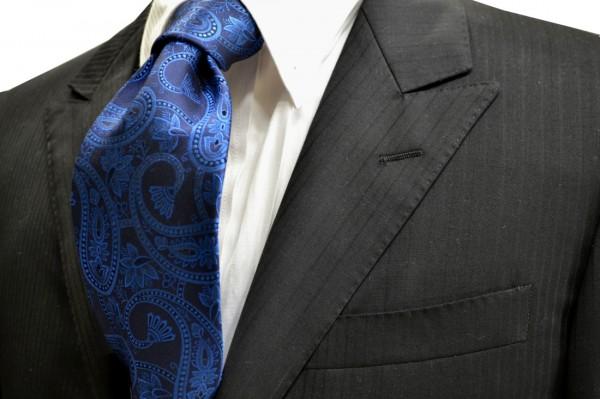 ネクタイ【黒に近い紺地に濃いブルーの大きいペイズリー柄ネクタイ】