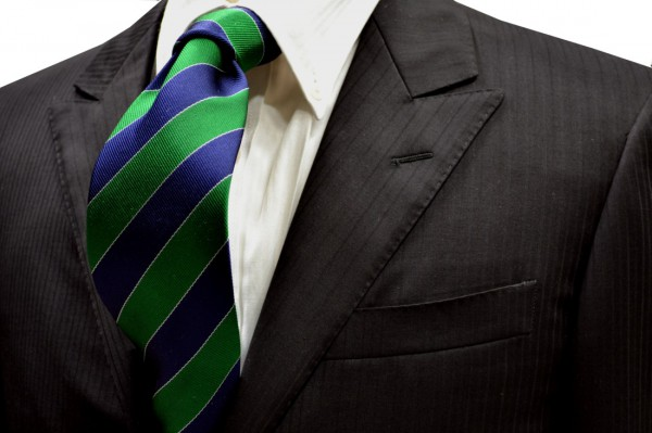ネクタイ【ネービーとグリーンと白のストライプネクタイ】