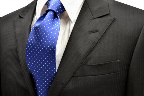 定番・市松模様 ネクタイ【ブルー地にホワイトの(1mm)ピンドット柄シルクテンネクタイ】